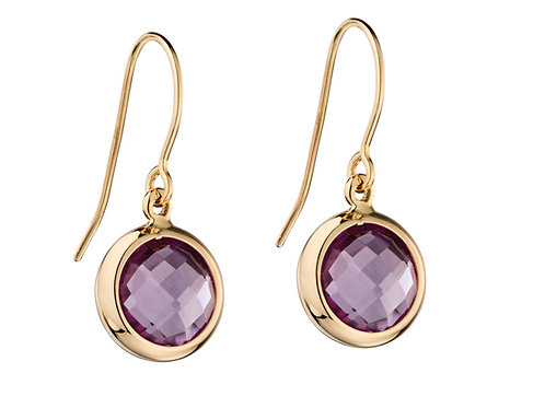 9ct Gold and Amethyst Drop Earrings