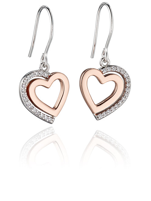 Fiorelli Silver and Rose Gold plated with Cubic Zirconia Heart Earrings