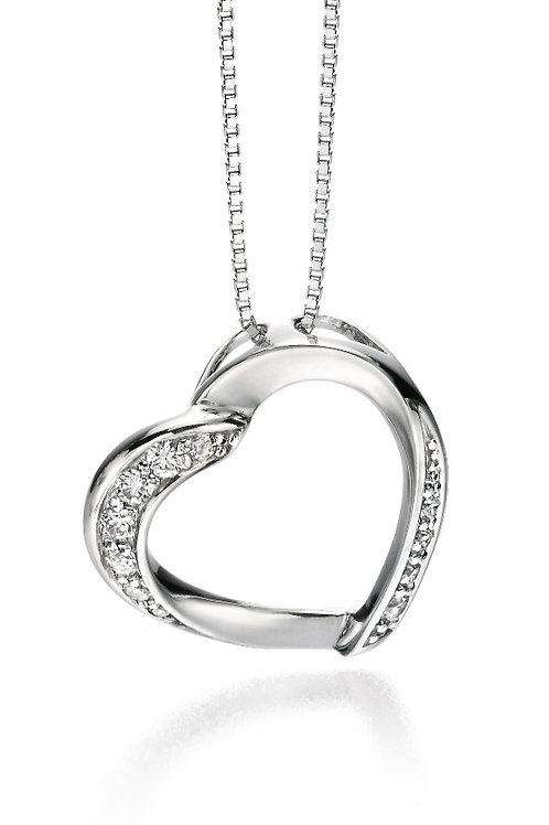 Fiorelli Silver with Cubic Zirconia Heart Pendant and Chain