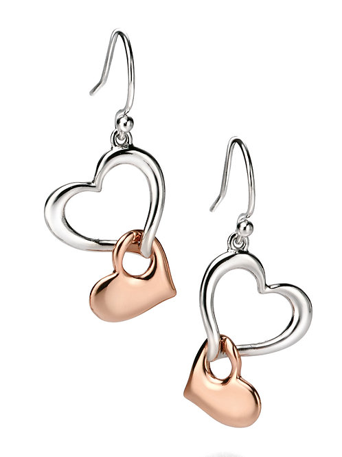 Fiorelli Silver and Rose Gold plated with Cubic Zirconia Earrings
