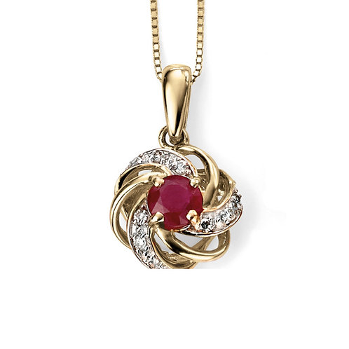 9ct Gold Ruby and Diamond Pendant and Chain
