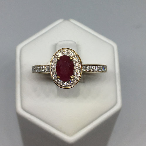 9ct Gold Ruby and Diamond Ring
