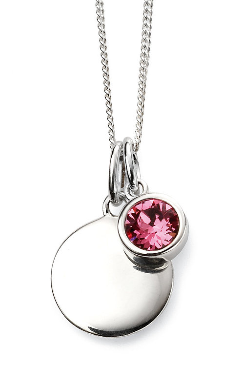 Silver and Swarovski Crystal Engravable Pendant and Chain - October Birthstone