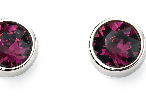 Silver and Crystal by Swarovski Earrings - February Birthstone