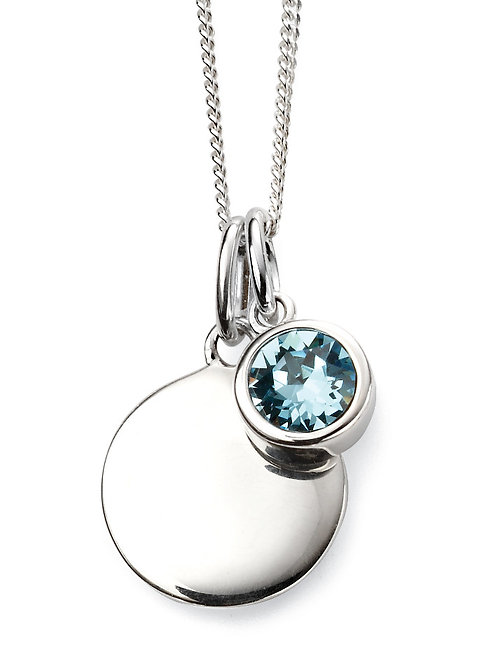 Silver and Swarovski Crystal Engravable Pendant and Chain - March Birthstone