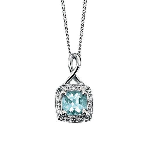 9ct White Gold Aquamarine and Diamond Pendant and Chain