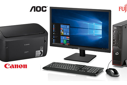 "FUJITSU Core i5 PC + 19"" AOC Monitor + Canon  Laser Printer"