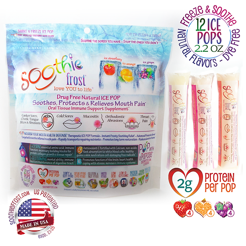 Soothie frost, 12 ICE POPS: Drug Free Oral Tissue Supplement (shipping included)