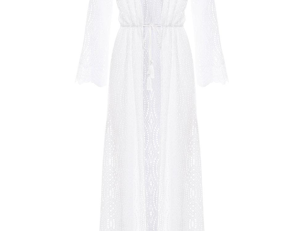 White Long Sleeve Kimono|Paolita