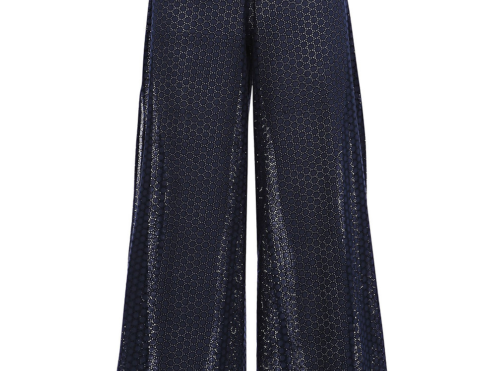 Navy Wide Leg Trousers|Paolita