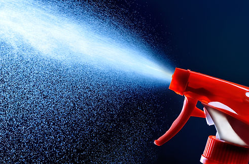 spray bottle - lighted while spraying on