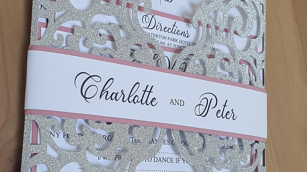 Glitter Lace Pocket Invitation