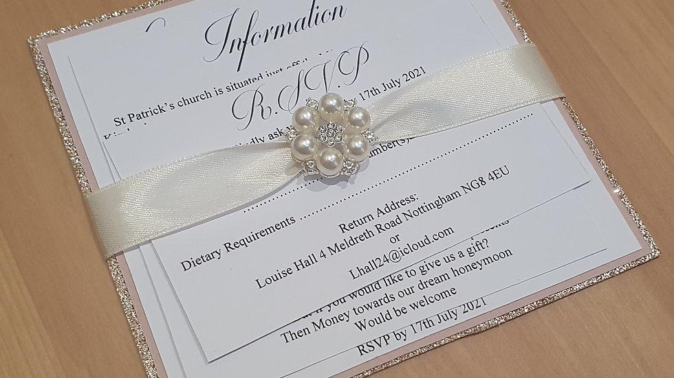 Square Invitations with Ribbon Embellishment