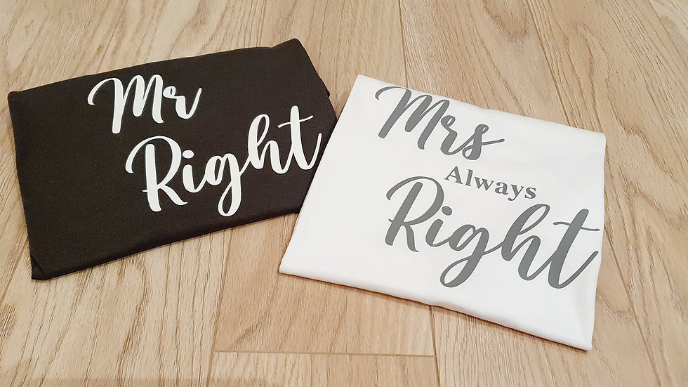 Mr Right & Mrs Airways Right T-Shirt Pair