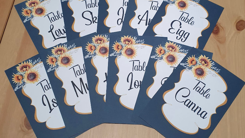 Surya Sunflower Table Numbers