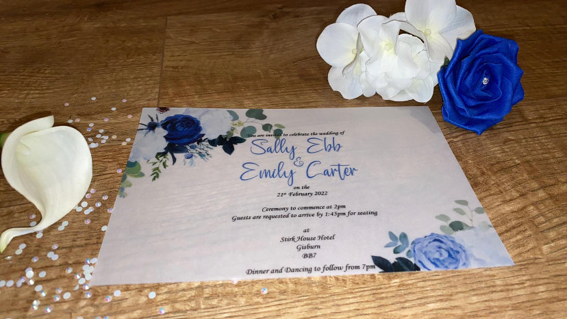 Sally Vellum Floral Invitation