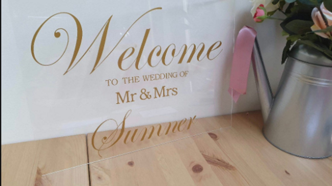 Acrylic 'Welcome to the Wedding' Sign