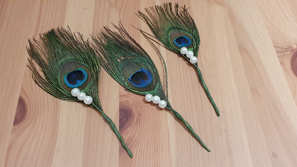 Peacock Feathers Buttonhole