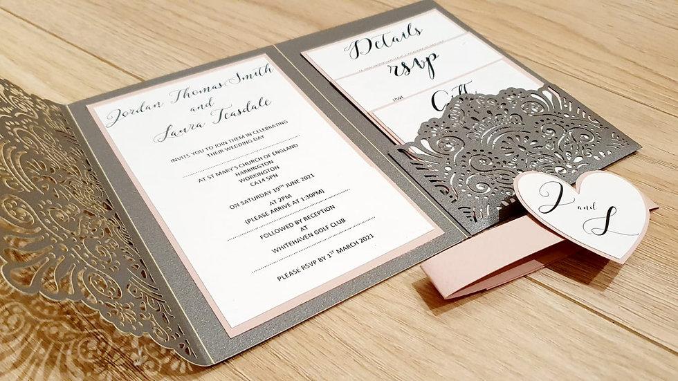 Olivia Lace Pocket Invitation