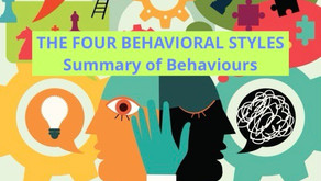 DISC - Newsletter #028  THE FOUR BEHAVIORAL STYLES - Summary of Behaviours