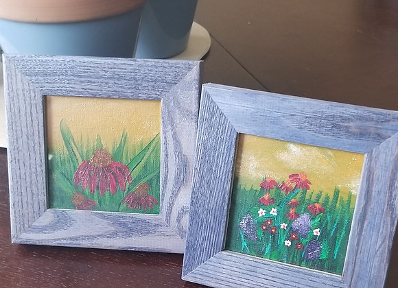 Framed Floral Painting Desk Set