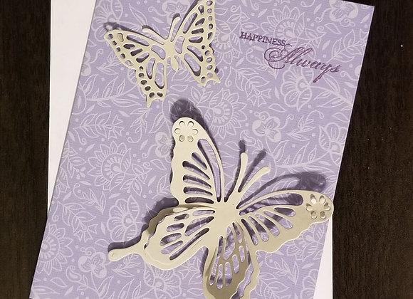 Happiness Butterfly Blank Inside - 4 pk