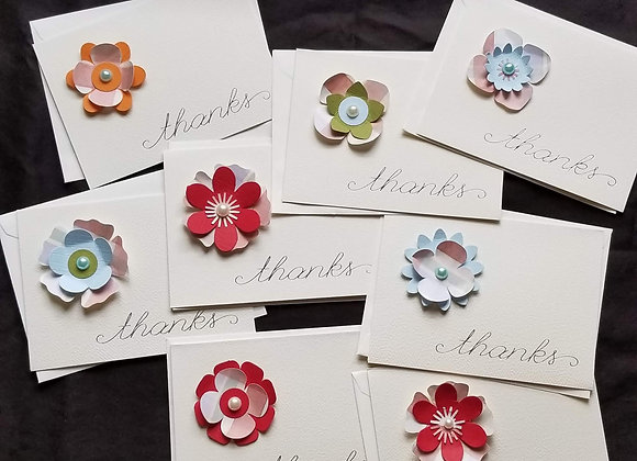 Thank You Card - Paper Flowers - 8 pk