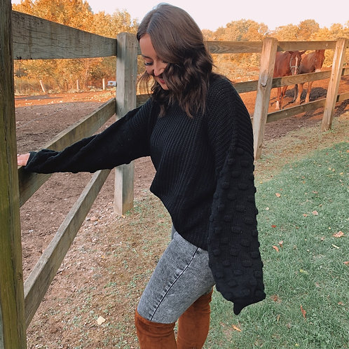 Black Bubble Sleeves Sweater