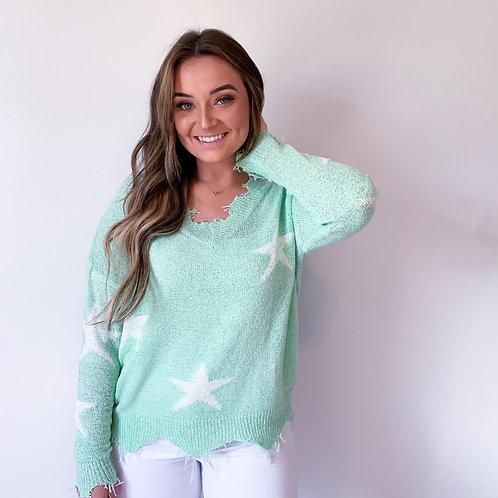 Minty Star Sweater
