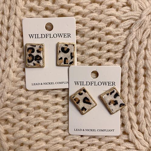 Square Cheetah Earrings
