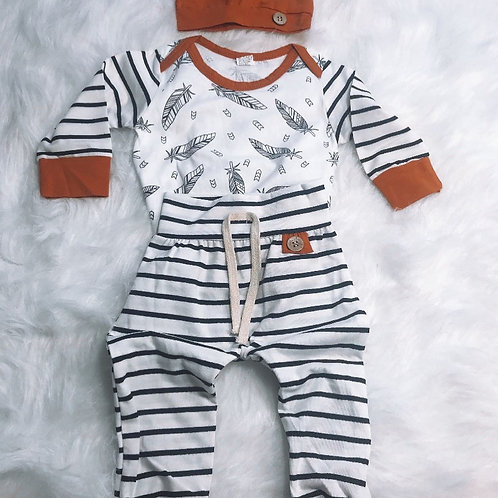 3-piece Long Sleeve Striped Baby Cotton