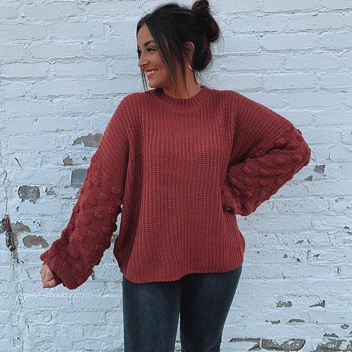Raspberry Bubble Sleeves Sweater