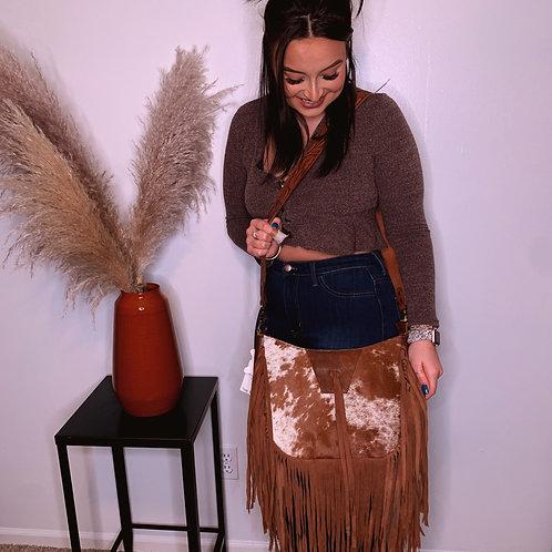 Genuine leather purse with fringe