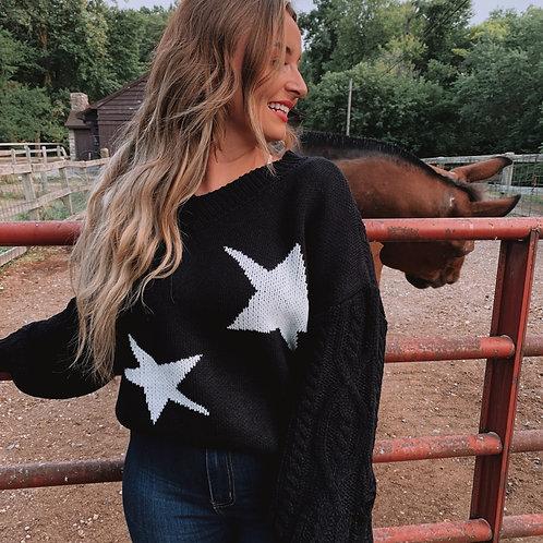 Black/White Star Sweater