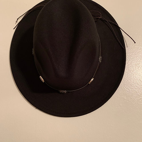 Black Casual Pointed Panama Hat