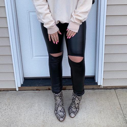 Graham Faux Leather Knit Leggings