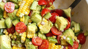 TOMATO, CORN AND AVOCADO SALAD (V, DF, GF, NF)