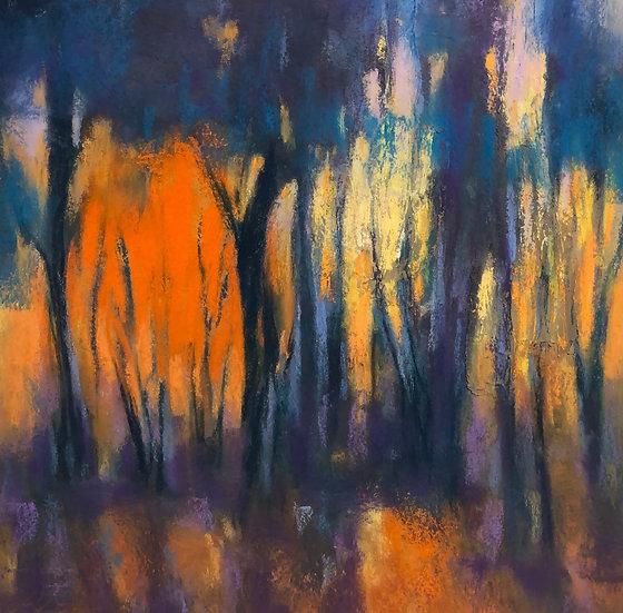 """Evening Orange Light,"" pastel 12x12"