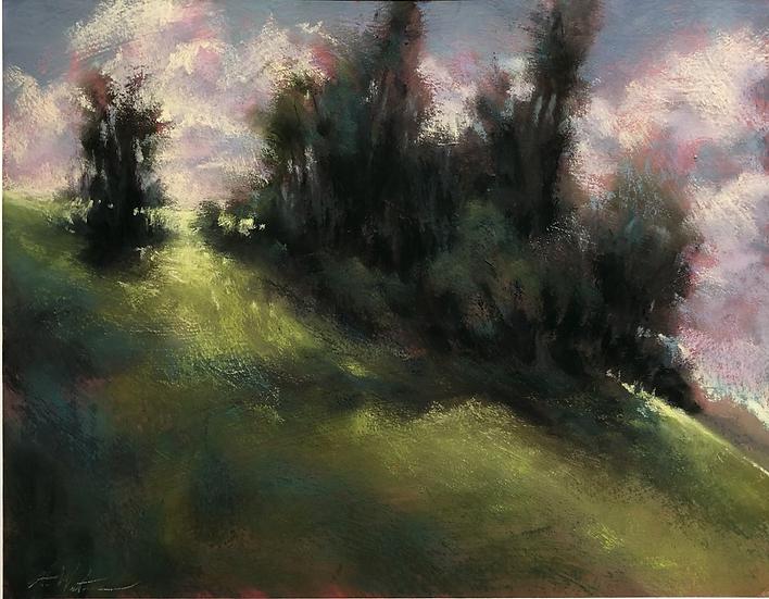 """Clouds Cresting a Hill"" pastel, 11x14"