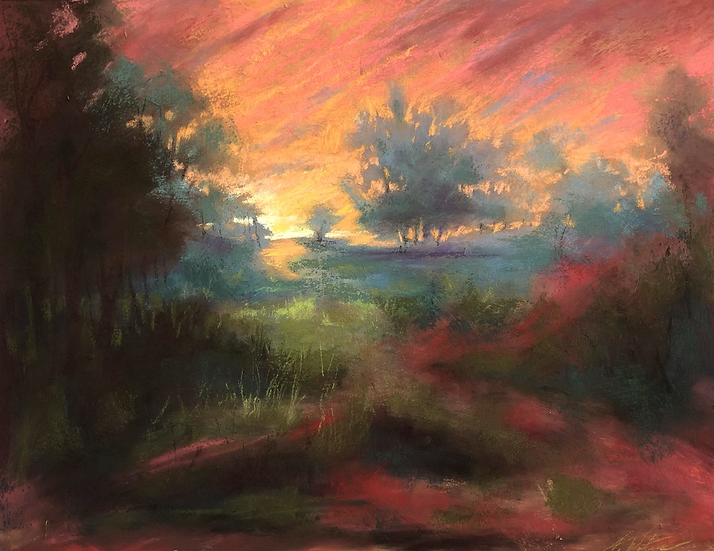 Maples at Dusk, 11x14 pastel
