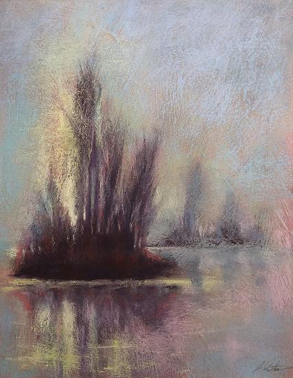 """""""Island Emerging from Fog"""" pastel , 14x11"""