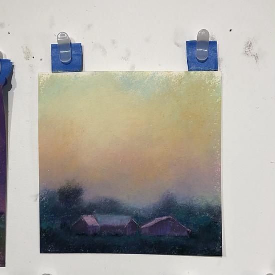 Pre-dawn on the Farm, 6x6 pastel