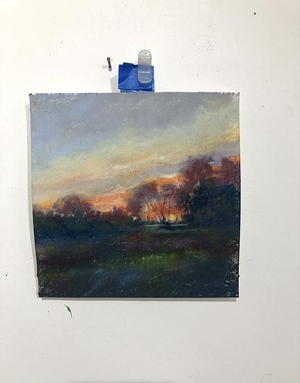 Sunset on  Fenceline , 6x6 Pastel Study