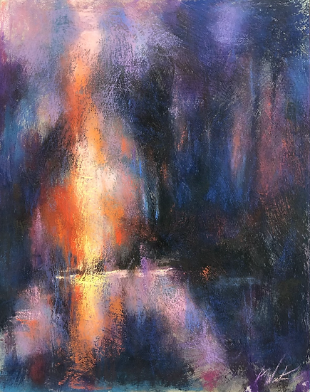 Night Light, 14x11  pastel
