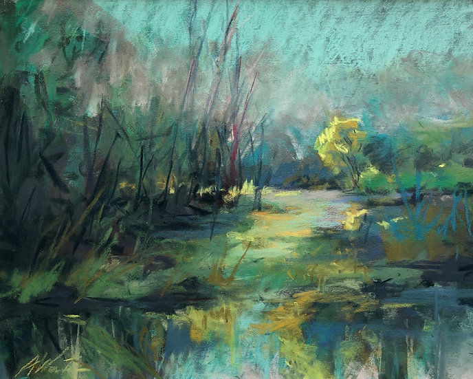 Flooded Field, pastel 8x10 in an 11x14 mat