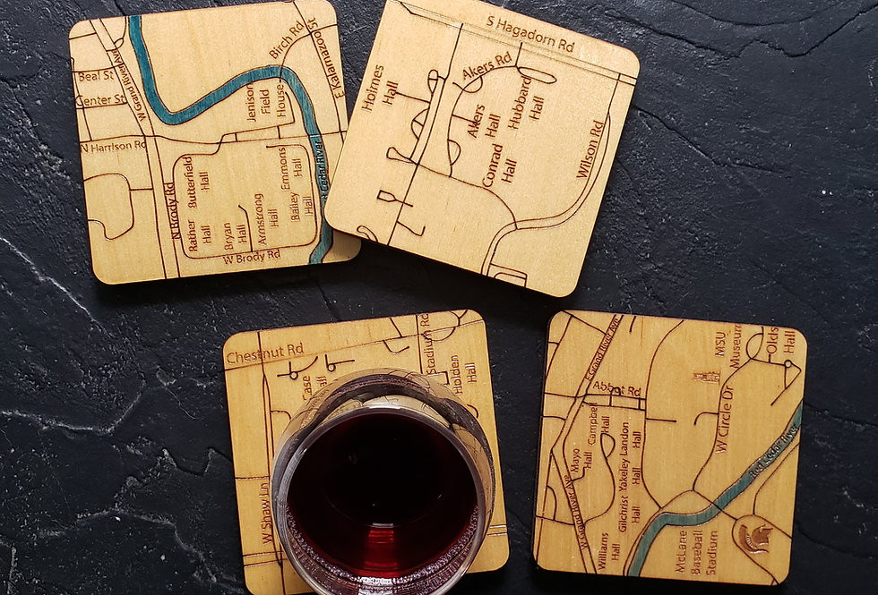MSU Campus Map Coasters