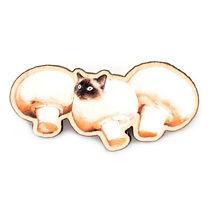 mushroom cat wooden pin