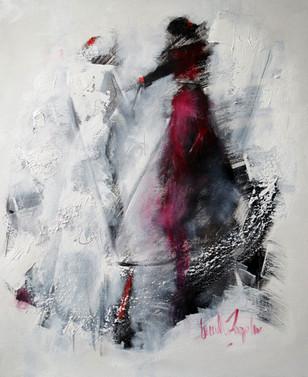 En rouge et noir sur une toile