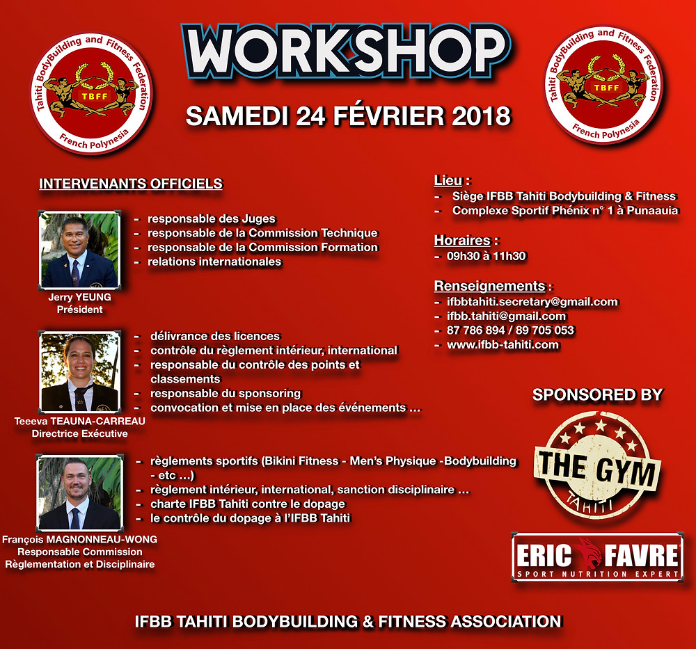 IFBB TAHITI 2018 WORKSHOP