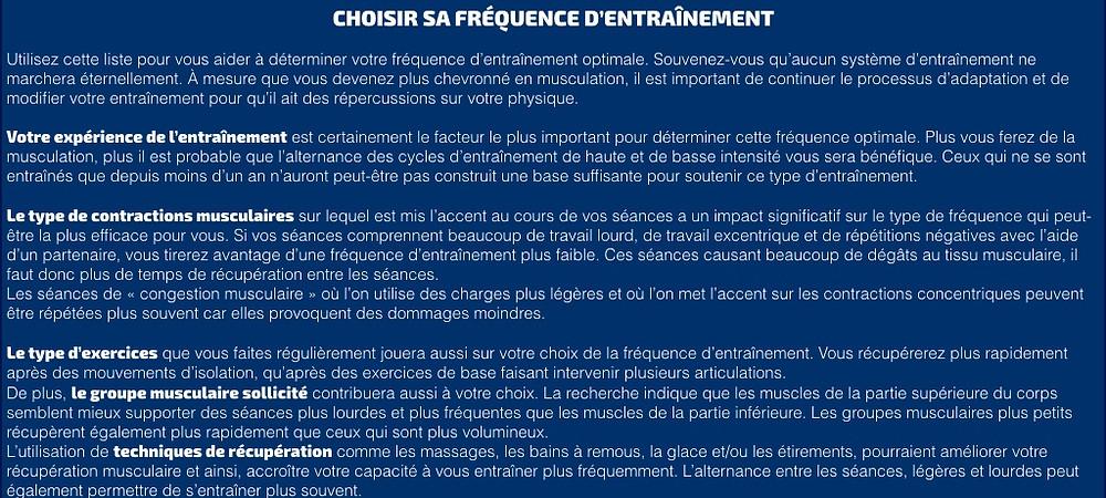 FRÉQUENCE D'ENTRAÎNEMENT